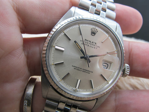 1970 Rolex DATEJUST 1601 Stainless Steel Original Silver Dial with Orange Patina