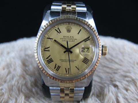 [1980] Rolex DATEJUST 16013 2-Tone SS/18k Original Gold Buckley Dial (UNPOLISHED)