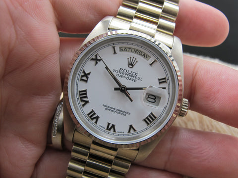 1982 Rolex DAY-DATE 18039 with Original White Raised Roman Dial with Band