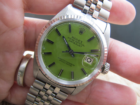 "1967 Rolex DATEJUST 1601 SS with Glossy ""Stella"" Green Dial"