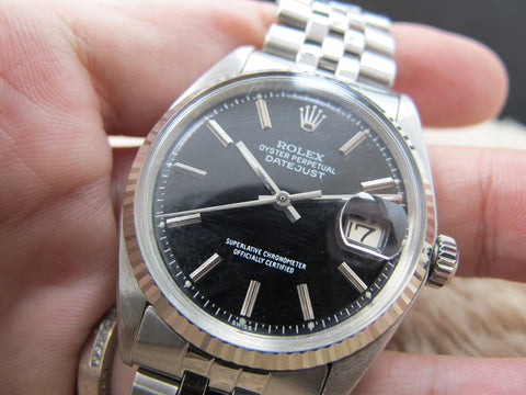 1972 Rolex DATEJUST 1601 SS Matte Black Dial with Jubilee Band