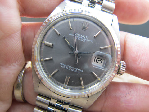 1975 Rolex DATEJUST 1601 SS ORIGINAL Grey Dial with Box and Paper