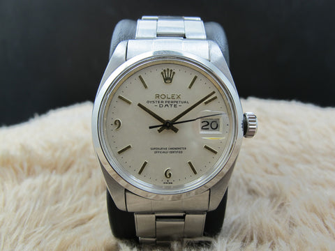 [1960] Rolex OYSTER DATE 1500 with Original White Dial with Raised 6 9 Markers