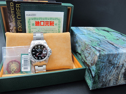 2002 Rolex EXPLORER 2 16570 Black Dial with Box and Paper