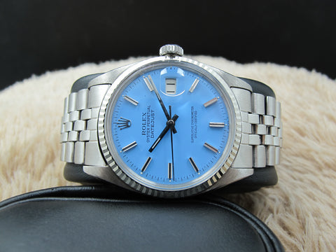 "1966 Rolex DATEJUST 1601 SS with Glossy ""Stella"" Sky Blue Dial"