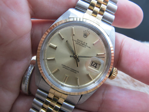 [1969] Rolex DATEJUST 1601 2-Tone SS/Gold ORIGINAL Gold Dial with Jubilee