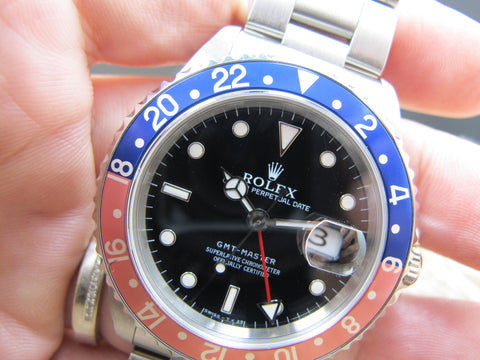 1996 Rolex GMT MASTER 16700 (T25 Dial) Pepsi Red/Blue Bezel