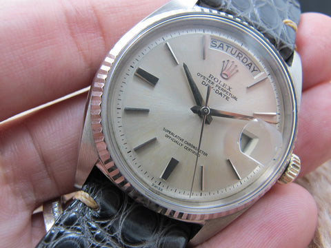 1962 Rolex DAY-DATE 1803 18K White Gold with Original Silver Doorstep SWISS dial