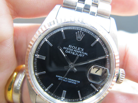 1967 Rolex DATEJUST 1601 SS Glossy Black Dial with Folded Jubilee