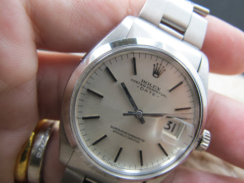 1973 Rolex OYSTER DATE 1500 Original Silver (Sigma) Dial with Folded Oyster Band