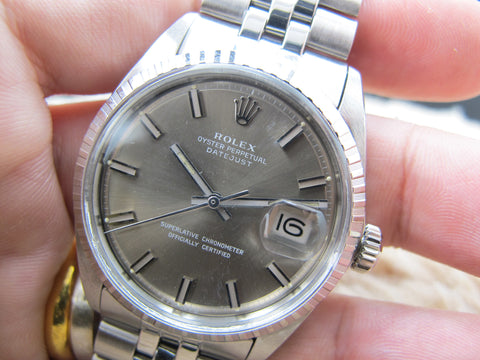 1970 Rolex DATEJUST 1603 SS ORIGINAL Grey Wide Boy Dial with Folded Jubilee