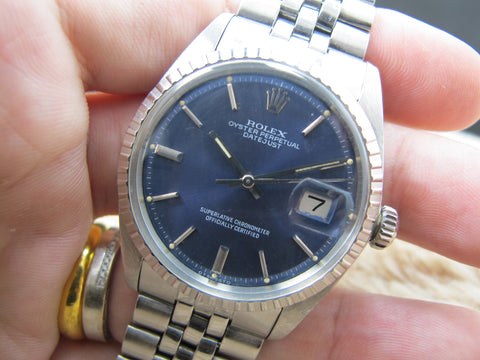 1973 Rolex DATEJUST 1603 SS ORIGINAL Glossy Blue Dial with Folded Jubilee