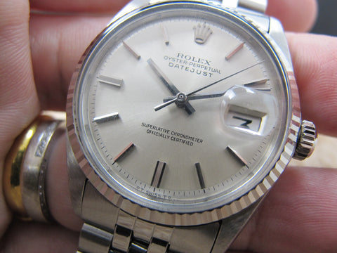 1970 Rolex DATEJUST 1601 SS ORIGINAL Silver (No Lume) Dial with Folded Jubilee