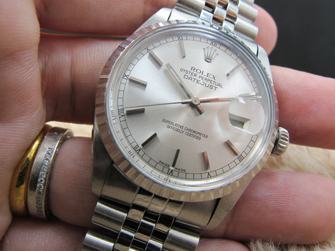 1985 Rolex DATEJUST 16030 SS with Original Silver Dial and Solid Jubilee