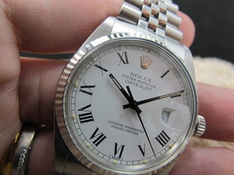 1981 Rolex DATEJUST 16014 SS Original White Buckley Dial with Paper