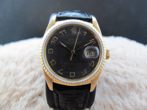 [1991] Rolex DATEJUST 16238 18k Yellow Gold ORIGINAL Black Computer Arabic Dial