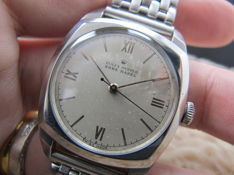 1944 Rolex OYSTER 4647 Military with Silver Roman Dial and Double Signed