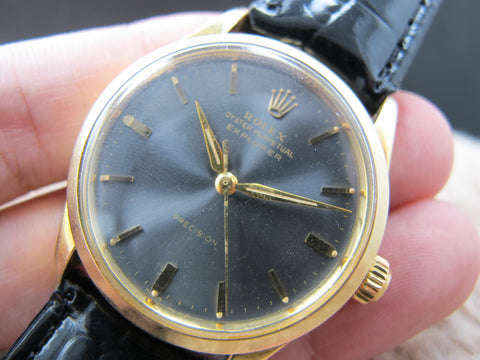 1960 Rolex AIR KING EXPLORER 5506 Gold Plated with Slate Grey Dial