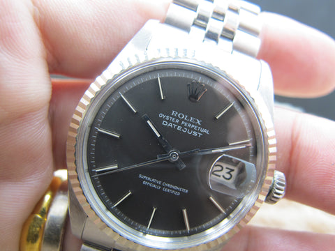 1970 Rolex DATEJUST 1601 SS ORIGINAL Dark Grey Dial with Folded Jubilee