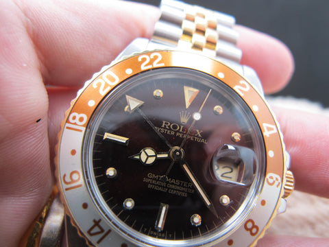 1985 Rolex GMT MASTER 2-Tone 16753 Root Beer Nipple Dial with Full Set