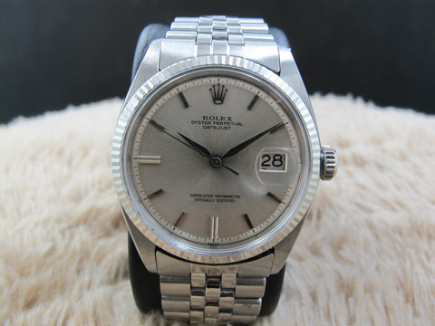 "[1963] Rolex DATEJUST 1601 SS ORIGINAL Silver ""SWISS"" Dial with Leaf Hands"