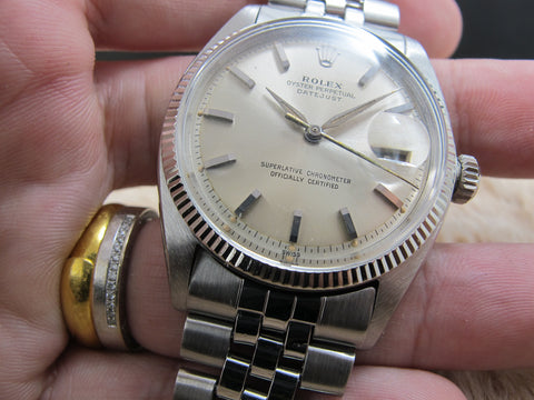 "1960 Rolex DATEJUST 1601 SS ORIGINAL Silver ""SWISS"" Dial with Leaf Hands"