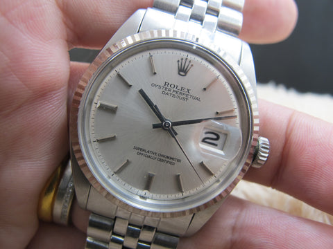 1969 Rolex DATEJUST 1601 Stainless Steel Original No Lume Silver Dial