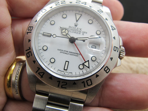 1991 Rolex EXPLORER 2 16570 with White T25 Dial with Lime Lume