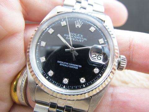 1965 Rolex DATEJUST 1601 SS Black Diamond Dial with Folded Jubilee
