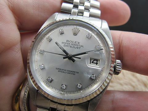 1966 Rolex DATEJUST 1601 SS Silver Diamond Dial with Folded Jubilee