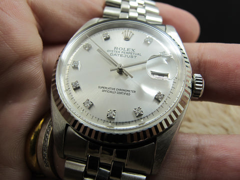 [1966] Rolex DATEJUST 1601 SS Silver Diamond Dial with Folded Jubilee