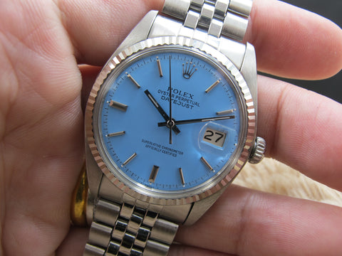 "1972 Rolex DATEJUST 1601 SS with Glossy ""Stella"" Sky Blue Dial"