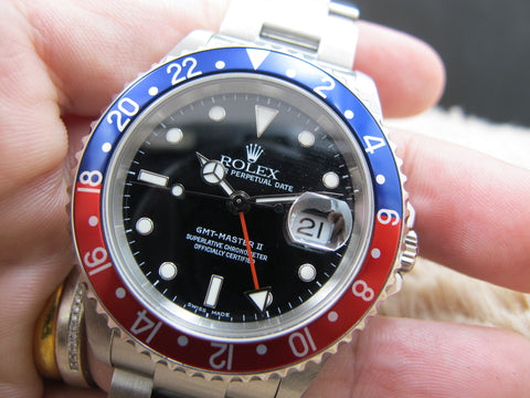 2004 Rolex GMT MASTER 2 16710 Red/Blue Pepsi Bezel (No Hole Case)