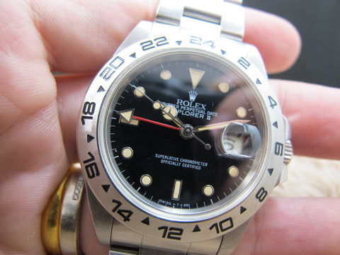 1987 Rolex EXPLORER 2 16550 Black Dial with Creamy Lume and Fat Font Bezel