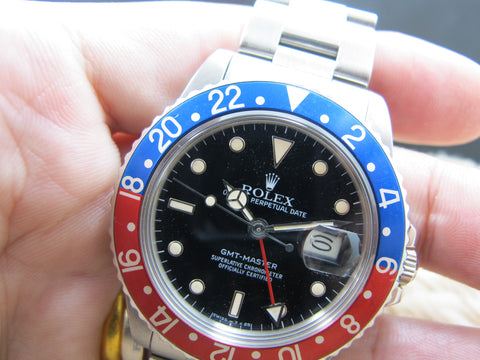1985 Rolex GMT MASTER 16750 Pepsi with Nice Patina and Solid Band