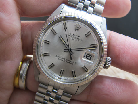 1970 Rolex DATEJUST 1601 SS with Original Wide Boy Patina Dial with RSC Paper