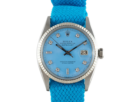 "1965 Rolex DATEJUST 1601 SS with Glossy ""Stella"" Sky Blue Diamond Dial"