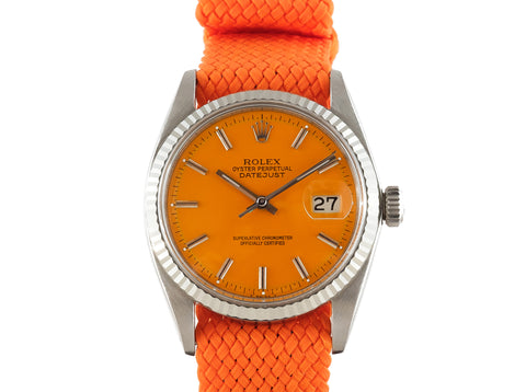 "1964 Rolex DATEJUST 1601 SS with Glossy ""Stella"" Orange Dial"