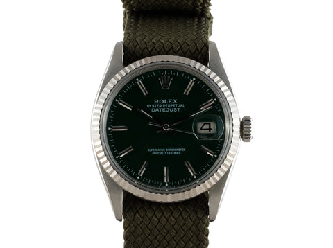 "1962 Rolex DATEJUST 1601 SS with Glossy ""Stella"" Dark Green Dial"
