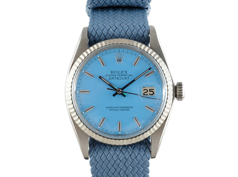 "1967 Rolex DATEJUST 1601 SS with Glossy ""Stella"" Sky Blue Dial"