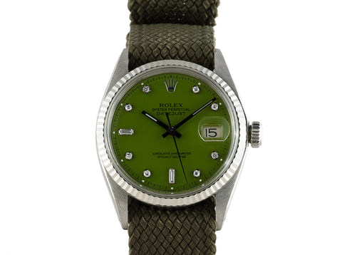 "1971 Rolex DATEJUST 1601 SS with Glossy ""Stella"" Green Diamond Dial"