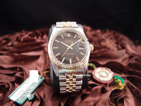 Rolex DATEJUST 16013 2-Tone SS/18k Gold ORIGINAL Black Dial Full Set