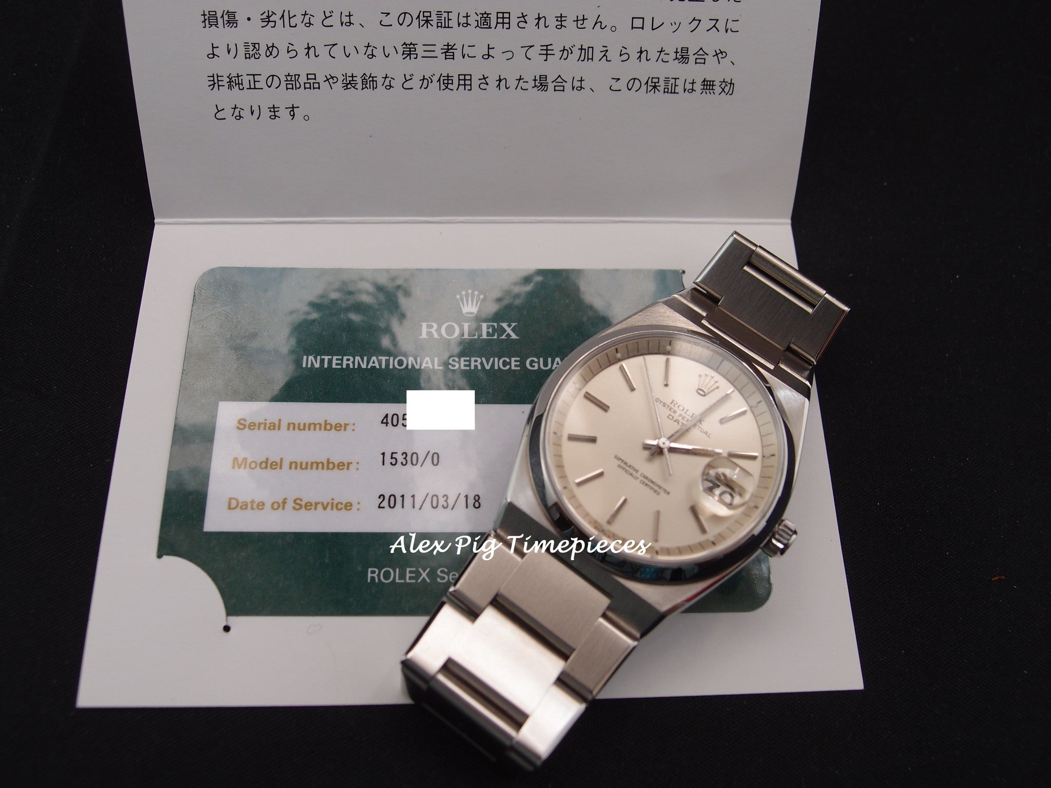 9dd4daa01f6 Rolex OYSTER DATE 1530 Original Silver Dial with Service Paper RARE ...