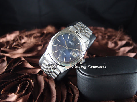 Rolex DATEJUST 1601 SS ORIGINAL Blue Dial with Jubilee Band
