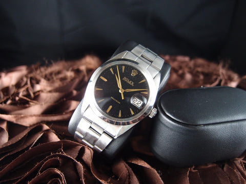 Rolex OYSTER DATE 6694 Vintage Black Dial with Gold Markers