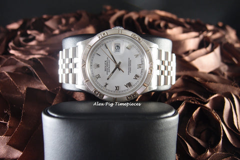 Rolex DATEJUST TURN-O-GRAPH 16264 Stainless Steel Original White Roman Dial
