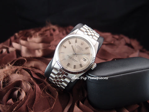 Rolex DATEJUST 1601 SS ORIGINAL Silver Wide Boy Dial with Jubilee Band