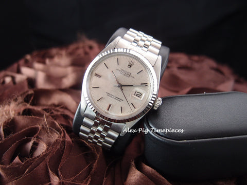 Rolex DATEJUST 1601 SS ORIGINAL Silver Tapestry Dial with Jubilee Band