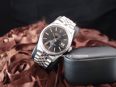 Rolex DATEJUST 1601 SS ORIGINAL Black Dial with Box and Paper