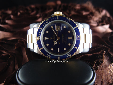 1990 Rolex SUBMARINER 16613 2-Tone Blue Dial with Blue Bezel